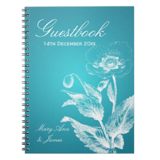 Turquesa de la amapola del Guestbook del boda Libretas