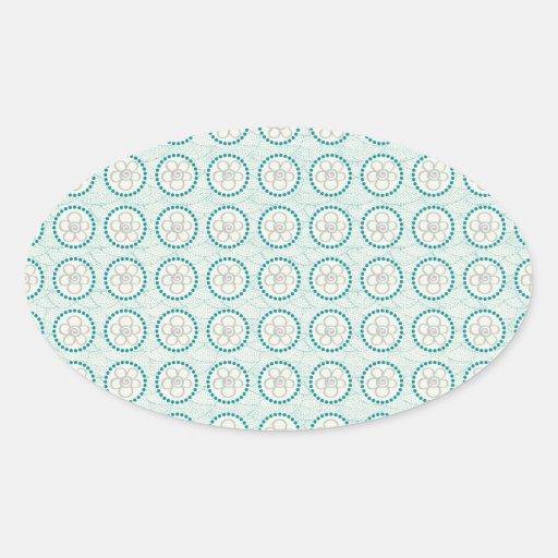 Turquesa de la diversión y estampado de flores colcomanias oval