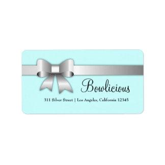 turquesa de la etiqueta de la plata 311-Bow-Liciou Etiquetas De Dirección