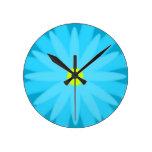 Turquesa de la floración relojes de pared