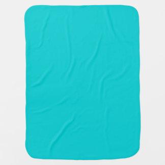 Turquesa de la oscuridad del color sólido mantas de bebé
