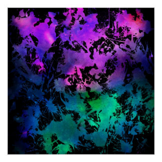 Turquesa de la púrpura de la salpicadura de la tin poster