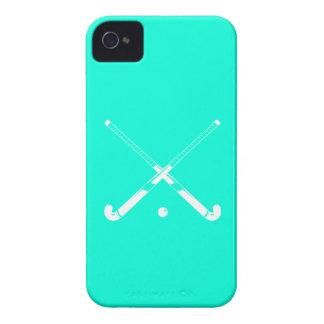 turquesa de la silueta del hockey hierba del iPhon Case-Mate iPhone 4 Protectores