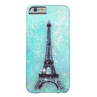 Turquesa de la torre Eiffel Funda De iPhone 6 Barely There