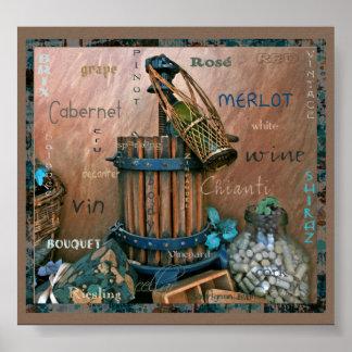 Turquesa de los amantes del vino y poster del arte