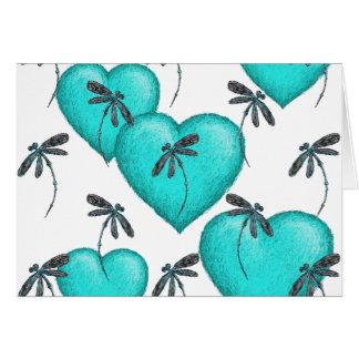 Turquesa de los corazones y de las libélulas del tarjeta de felicitación