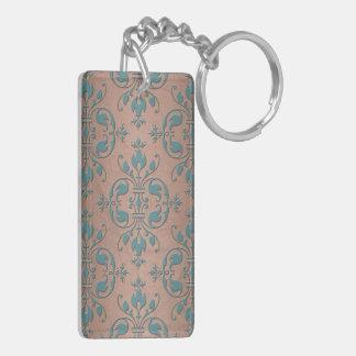 Turquesa de lujo sobre el damasco de cobre pardusc llaveros