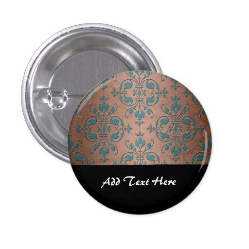 Turquesa de lujo sobre el damasco de cobre pardusc pin