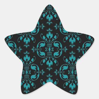 Turquesa de lujo sobre el damasco negro pegatina en forma de estrella
