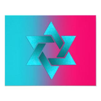 """Turquesa de Mitzvah del palo y estrella rosada de Invitación 4.25"""" X 5.5"""""""