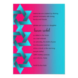"""Turquesa de Mitzvah del palo y estrella rosada de Invitación 5.5"""" X 7.5"""""""