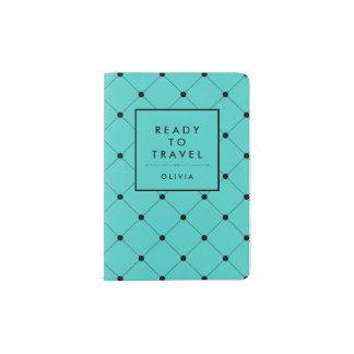Turquesa de moda con el modelo de puntos negro porta pasaporte