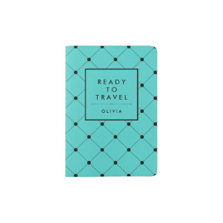 Turquesa de moda con el modelo de puntos negro porta pasaportes