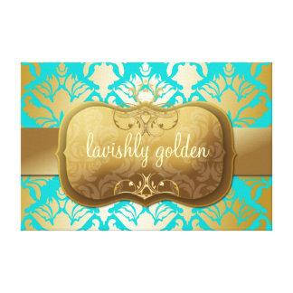 Turquesa de oro pródigo del reflejo del damasco 31 impresión en lona estirada
