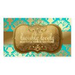 Turquesa de oro pródigo del reflejo del damasco tarjetas de visita
