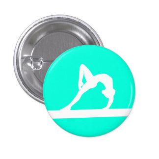 Turquesa del botón de la silueta del gimnasta pin redondo de 1 pulgada