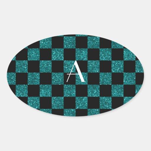 Turquesa del brillo del monograma y a cuadros calcomania de oval