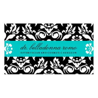 Turquesa del damasco de 311 belladonas tarjetas de visita