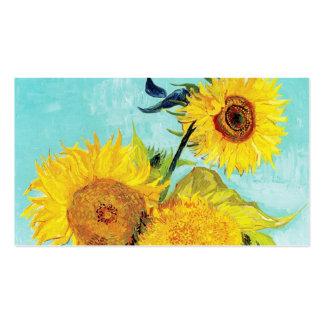 Turquesa del florero de los girasoles de Vincent v Tarjetas De Visita