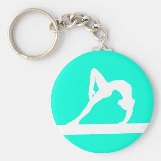 Turquesa del llavero de la silueta del gimnasta