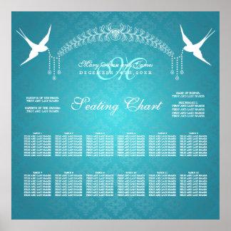 Turquesa del monograma de los pájaros de la carta  posters