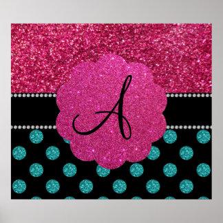 Turquesa del monograma y lunares rosados póster