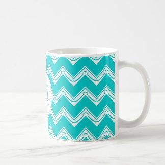 Turquesa del monograma y modelo blanco de Chevron Tazas De Café