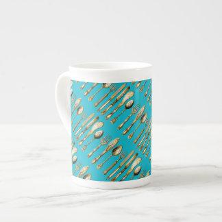 Turquesa del oro de la cuchara de la bifurcación taza de porcelana