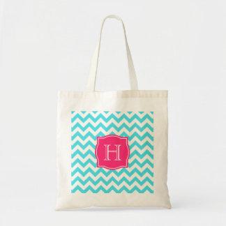 Turquesa del zigzag y monograma de encargo rosado bolsas