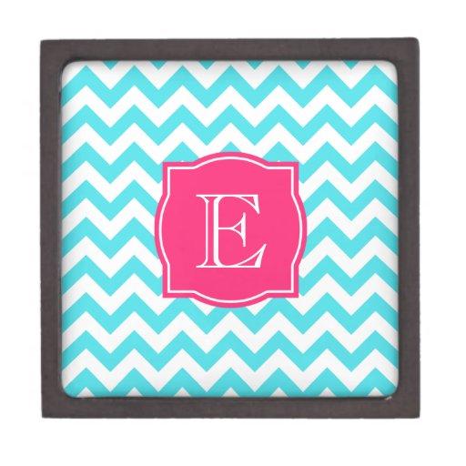 Turquesa del zigzag y monograma de encargo rosado caja de regalo de calidad
