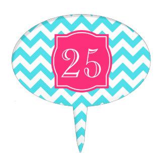 Turquesa del zigzag y monograma de encargo rosado decoración para tarta
