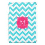 Turquesa del zigzag y monograma de encargo rosado iPad mini cobertura
