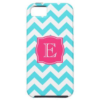 Turquesa del zigzag y monograma de encargo rosado iPhone 5 fundas