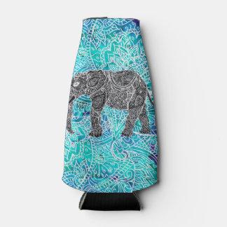 Turquesa dibujada mano del azul del elefante del enfriador de botellas