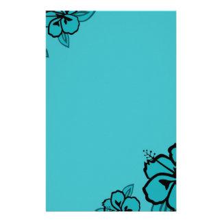 Turquesa e impresión negra del hibisco papelería personalizada