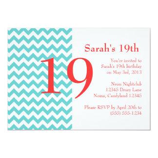 Turquesa e invitación coralina del cumpleaños de invitación 12,7 x 17,8 cm