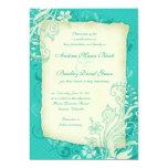Turquesa e invitación floral de marfil del boda