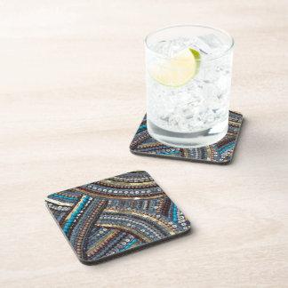 Turquesa elegante con lentejuelas posavasos de bebida