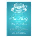 Turquesa elegante de la taza de té del vintage de invitación 12,7 x 17,8 cm