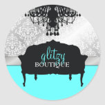 Turquesa elegante glamorosa del boutique 311 etiquetas redondas