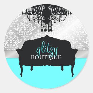 Turquesa elegante glamorosa del boutique 311 pegatina redonda
