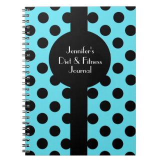 Turquesa elegante y diario negro del personalizado libretas espirales