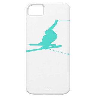 Turquesa; Esquí de la nieve del verde azul Funda Para iPhone 5 Barely There