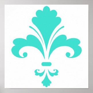 Turquesa, flor de lis azulverde póster
