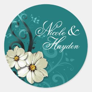 Turquesa floral adornada del favor el | del pegatina redonda