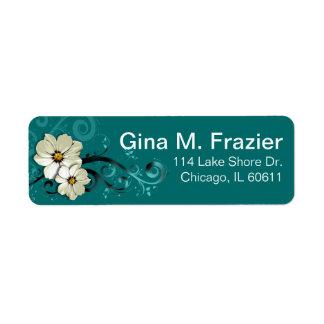 Turquesa floral adornada del Flourish el Etiqueta De Remite
