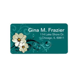 Turquesa floral adornada del Flourish el | Etiquetas De Dirección