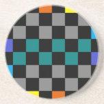 Turquesa gris del arco iris del tablero de damas a posavasos personalizados