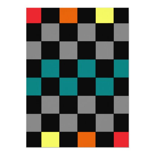 """Turquesa gris del arco iris del tablero de damas invitación 5.5"""" x 7.5"""""""