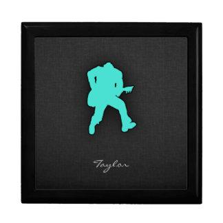 Turquesa Guitarrista del verde azul Caja De Regalo